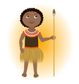 African child wearing traditional costume with lan vector