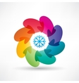 Circle of colored mittens vector