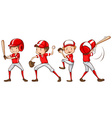 A sketch of the baseball players in red uniform vector