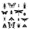 Insects icons set black and white vector