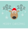 Cute cartoon deer with curly horns red hat and vector