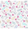 Cosmetics and beauty products with hearts vector