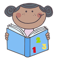 African american girl reading a book vector