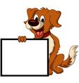 Cute dog cartoon holding blank sign vector