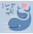 Happy fathers day card with cute whales vector