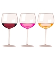 Glasses with wine and champagne isolated on white vector