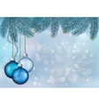Christmas background with balls and fir branches vector