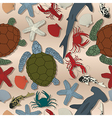 Sea life seamless pattern cartoon art vector