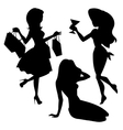 Girl silhouettes set vector