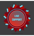 Red style star with label sign live support vector