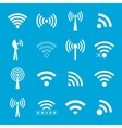 Set of white wifi icons on blue background vector