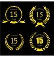 Celebrating 15 years anniversary - golden laurel vector