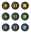 Music player buttons set vector