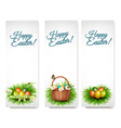 Three happy easter banners with easter eggs in a vector