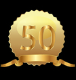 50 gold seal with ribbon vector