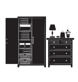 Silhouette of cupboard and chest of drawers vector