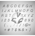 Calligraphic black grunge alphabet vector