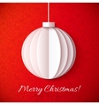 White origami paper christmas ball vector