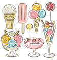 Set of different ice cream vector