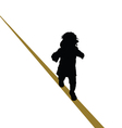 Baby walking a tightrope vector