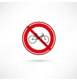 Travel by bicycle is prohibited icon vector