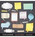Set of textured paper speech bubbles vector