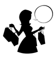 Shopping girl silhouette with empty speech bubble vector