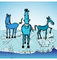 Horse trio on ice vector
