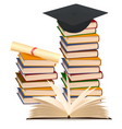 Stack books and graduation cap vector