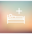 Medical bed with patient thin line icon vector