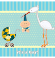 Baby boy with stork vector