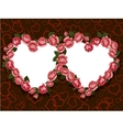 Rose flowers two hearts frame pattern vector