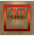 Abstract cracked background with the red word jazz vector