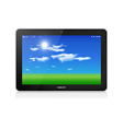 Tablet pc horizontal blue sky background vector