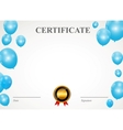 Certificate with balloons template vector