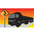 Black truck on the road with signs vector