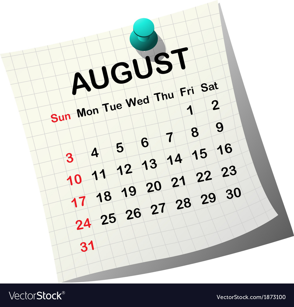 2014 paper calendar for august vector | Price: 1 Credit (USD $1)