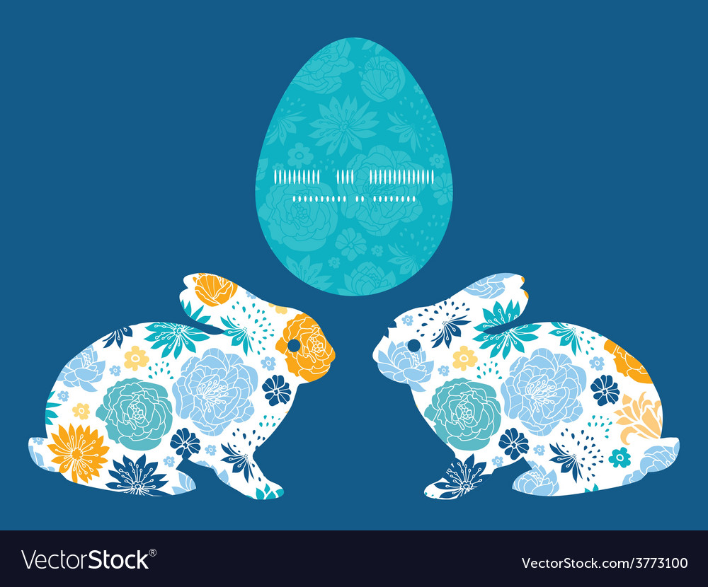 Blue and yellow flowersilhouettes bunny vector | Price: 1 Credit (USD $1)