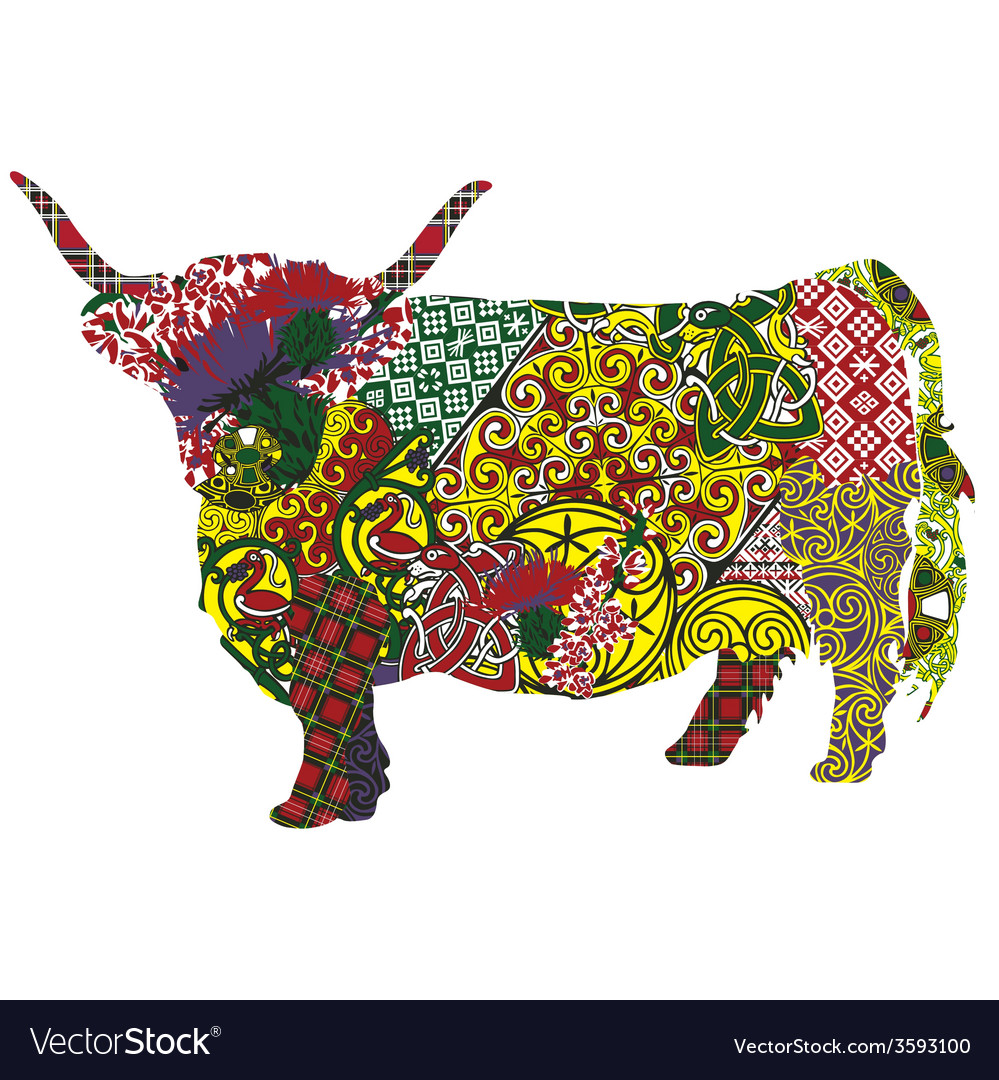 Cow in the scottish patterns vector | Price: 1 Credit (USD $1)