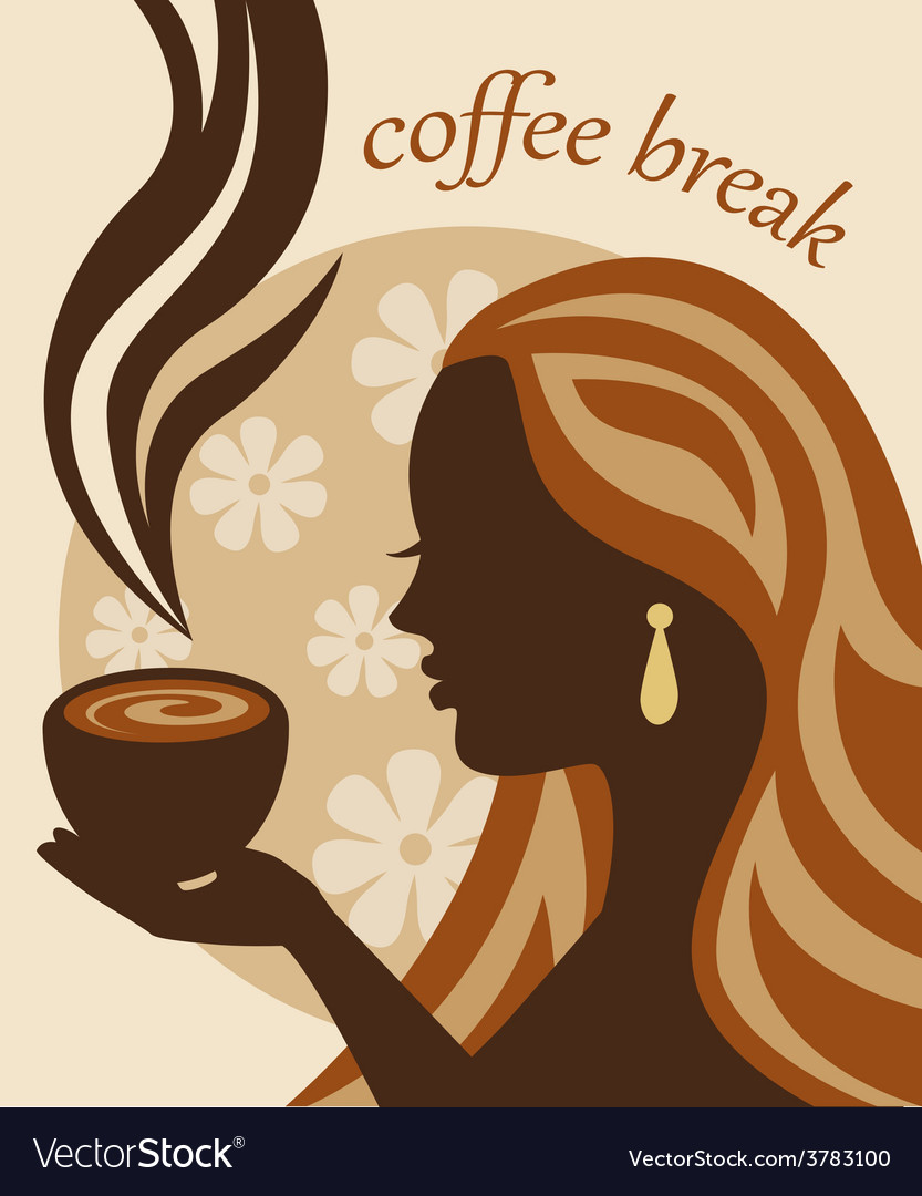 Female silhouette with a cup of coffee in hand vector | Price: 1 Credit (USD $1)