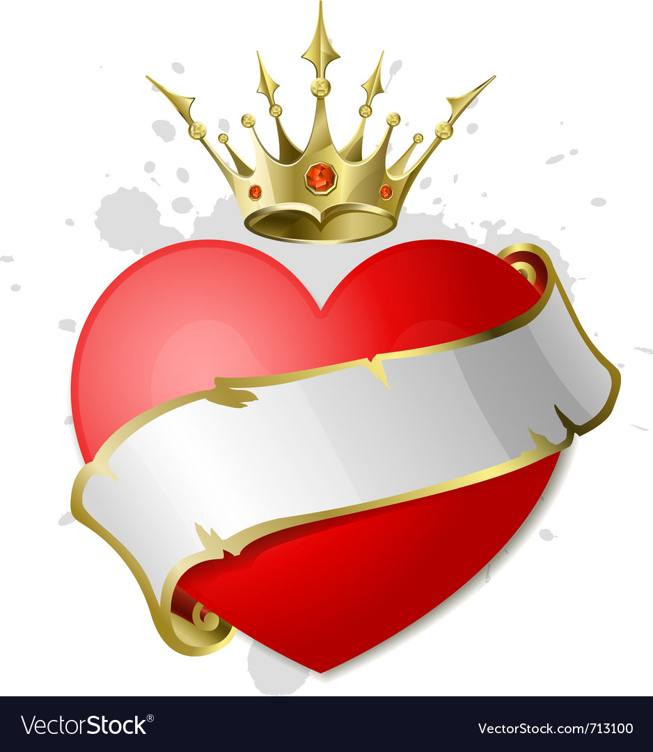 Heart with ribbon and crown vector | Price: 1 Credit (USD $1)