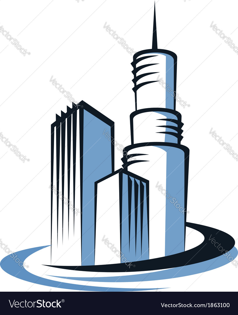 Modern city and communications tower vector | Price: 1 Credit (USD $1)