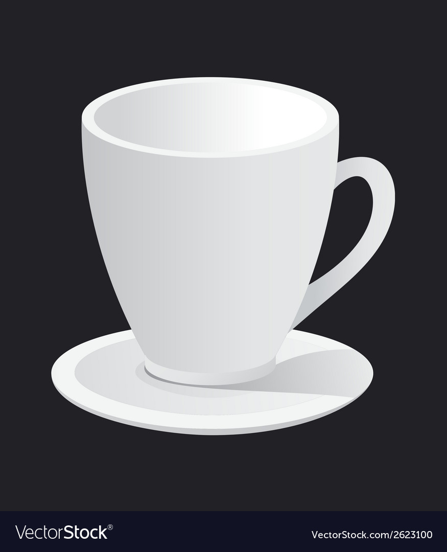 Photorealistic white cup and saucer vector | Price: 1 Credit (USD $1)
