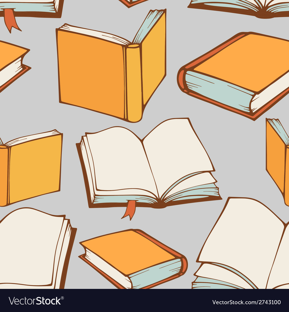 Seamless pattern with hand drawn decorative books vector | Price: 1 Credit (USD $1)