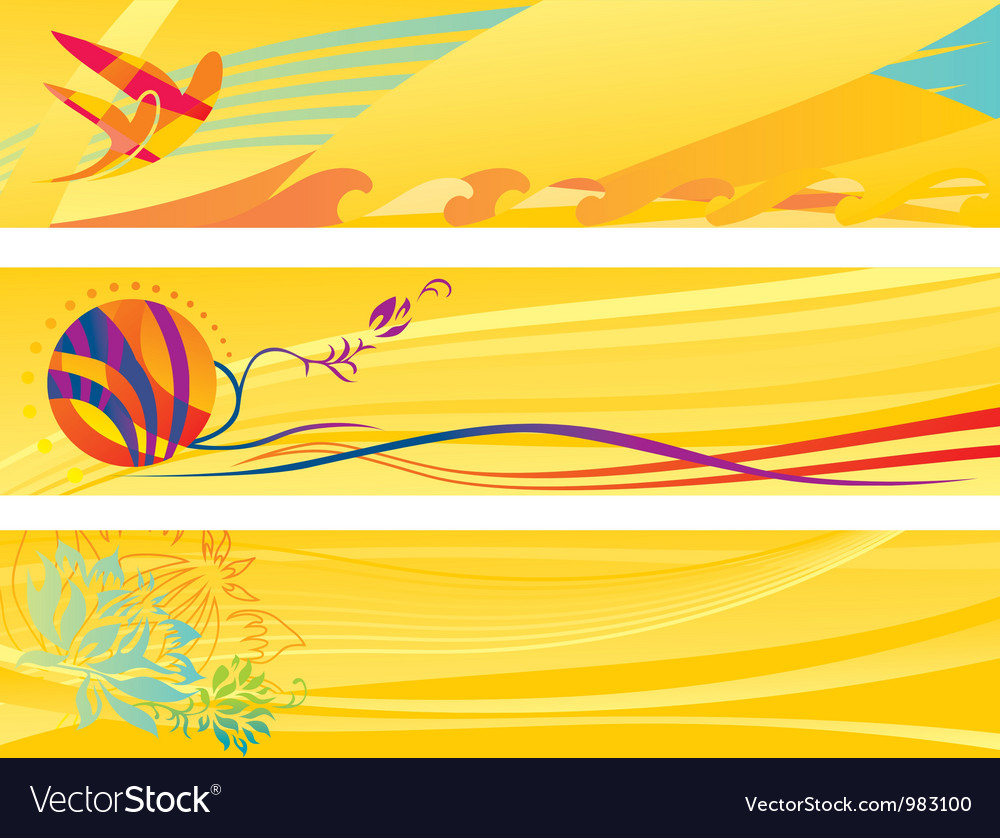 Set of hot travel banners vector | Price: 1 Credit (USD $1)