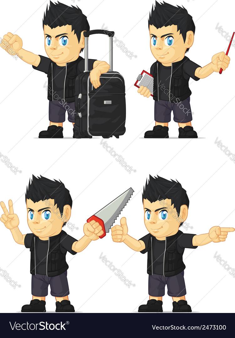 Spiky rocker boy customizable mascot 7 vector | Price: 1 Credit (USD $1)