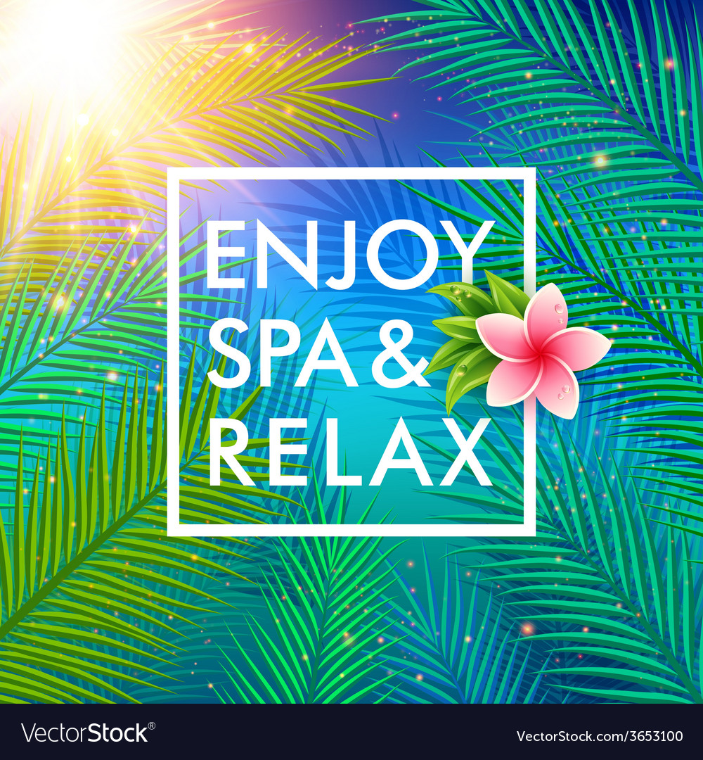 Tropical background with palm leaves spa concept vector | Price: 1 Credit (USD $1)