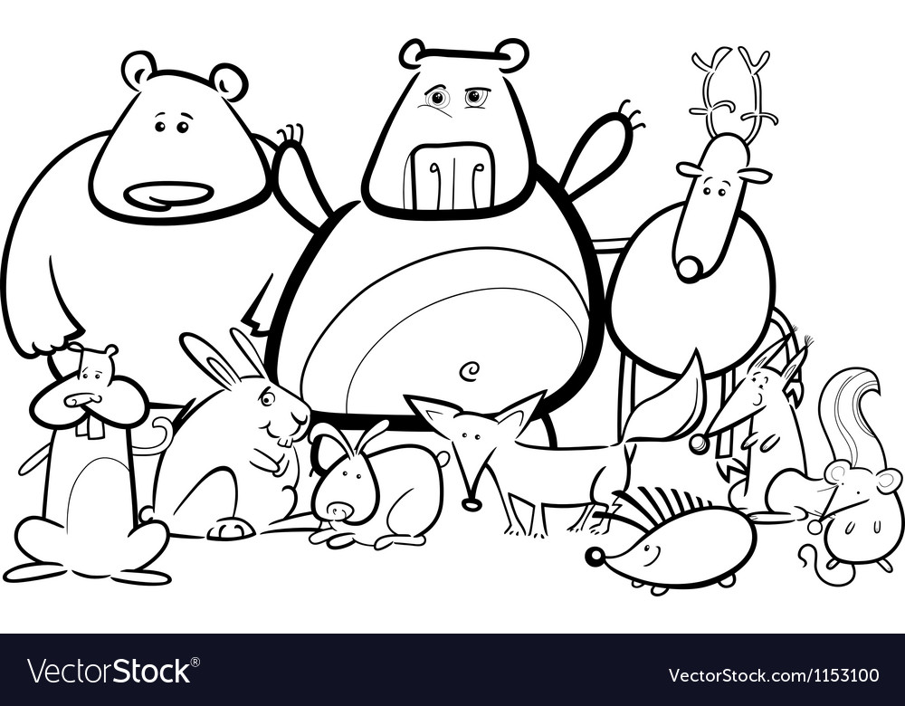 Wild animals group cartoon for coloring book vector | Price: 1 Credit (USD $1)