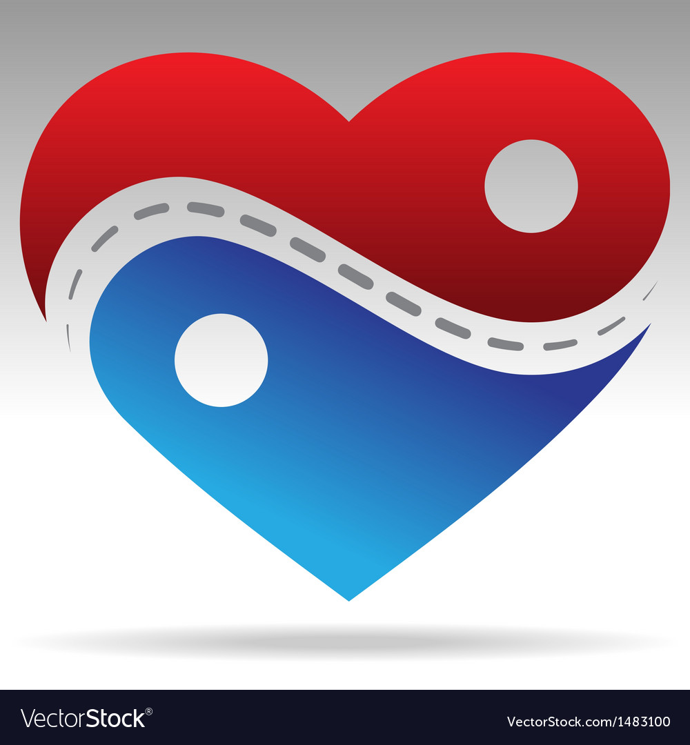 Ying yang shape heart vector | Price: 1 Credit (USD $1)