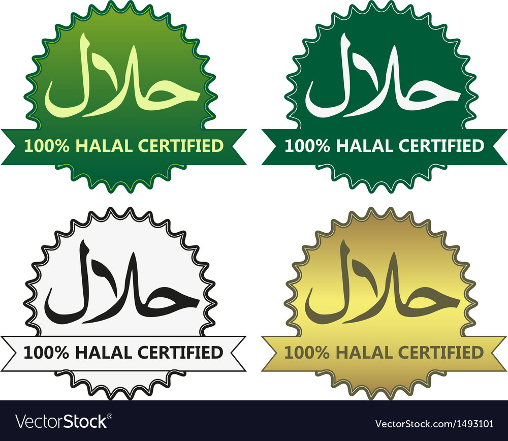 4 halal product labels vector | Price: 1 Credit (USD $1)